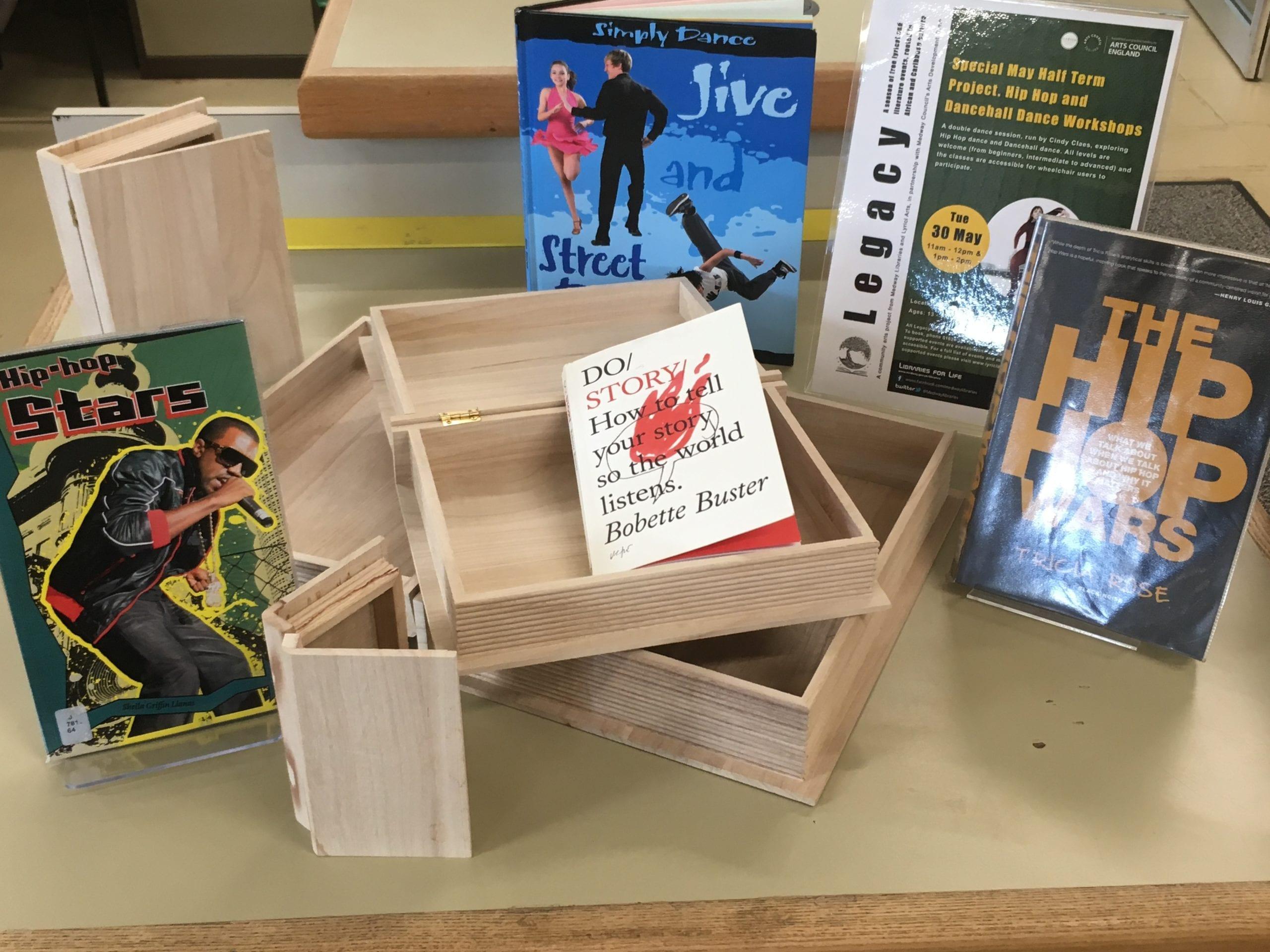 A book display at a library