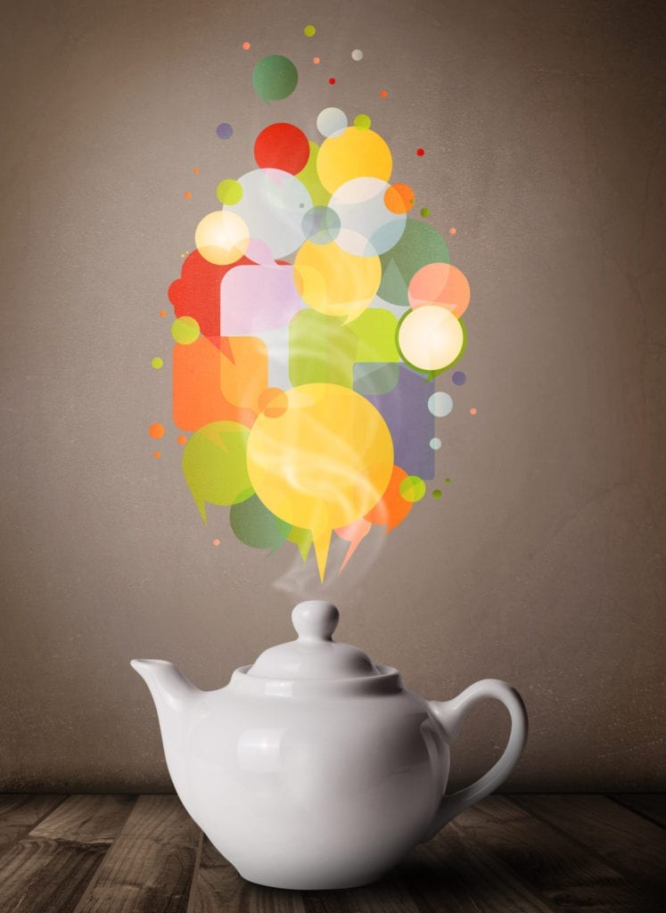 A coffee pot with colourful speech bubbles