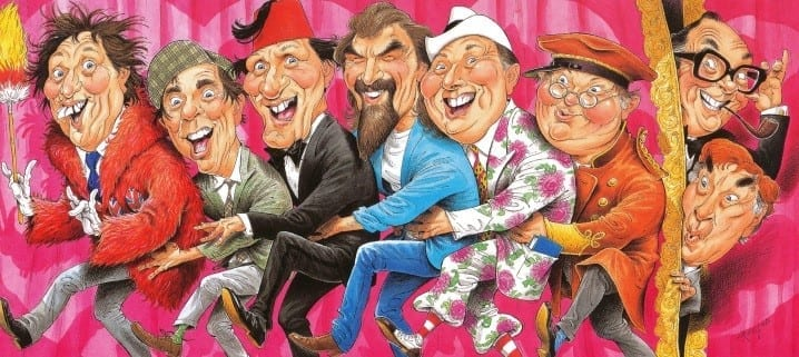 A caricature painting of eight men in colourful clothes