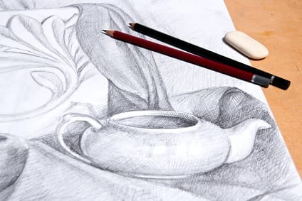 A still life drawing of a tea infuser and plaster palm leaf