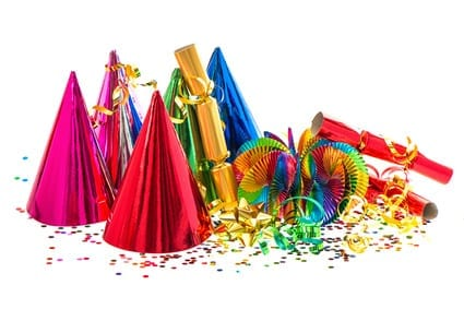 Party decorations, including part hats, crackers and confetti