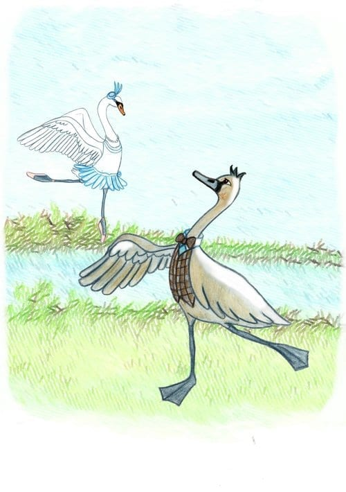 A drawing of two geese dressed up and dancing