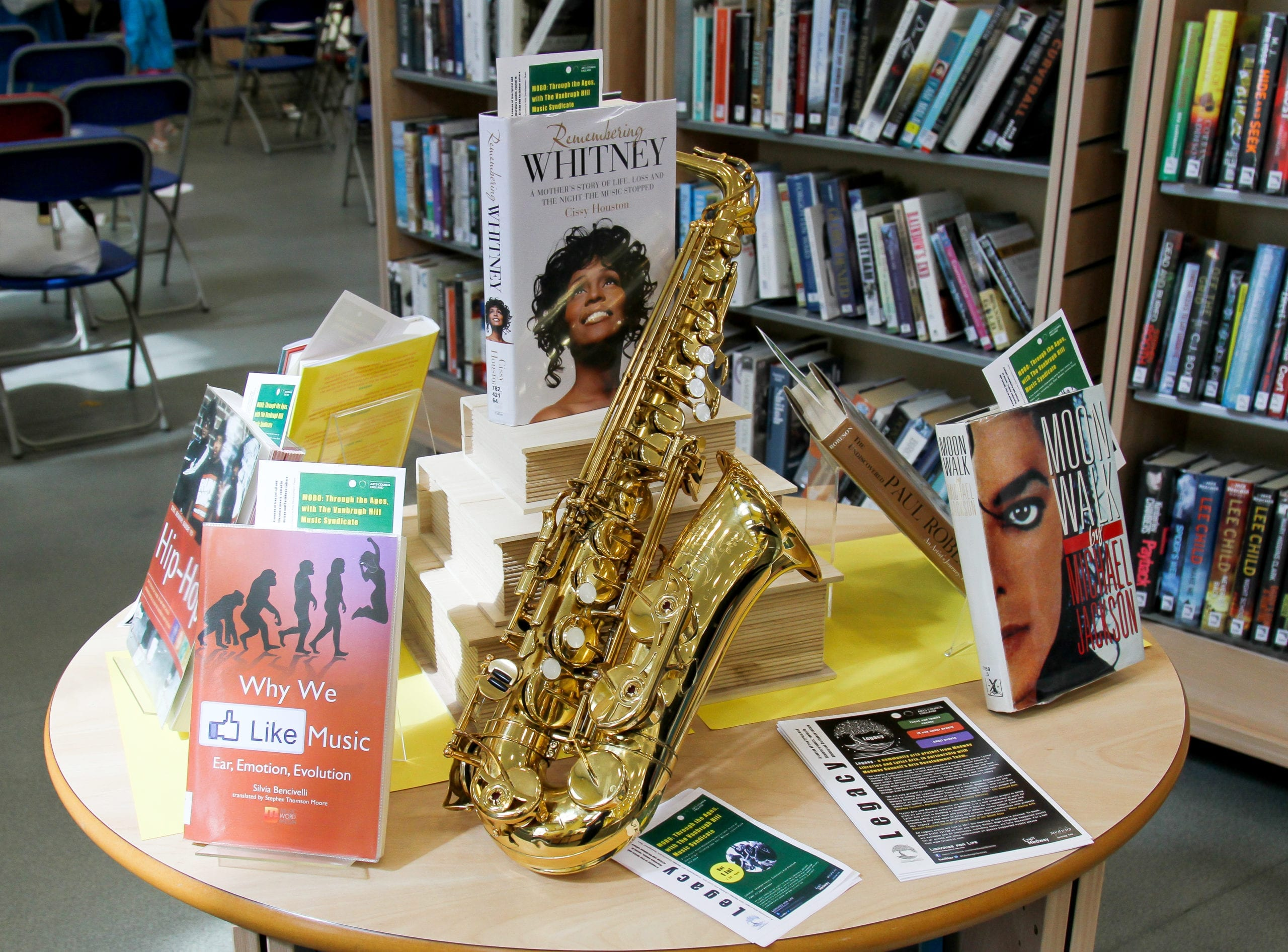A book displaying showing a collection of books about music and a saxophone