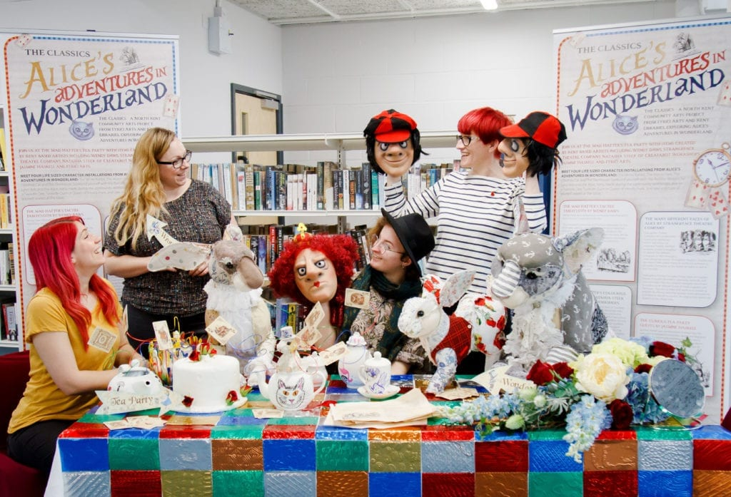 An Alice in Wonderland display at a community library
