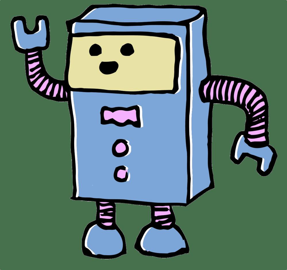 A cartoon robot