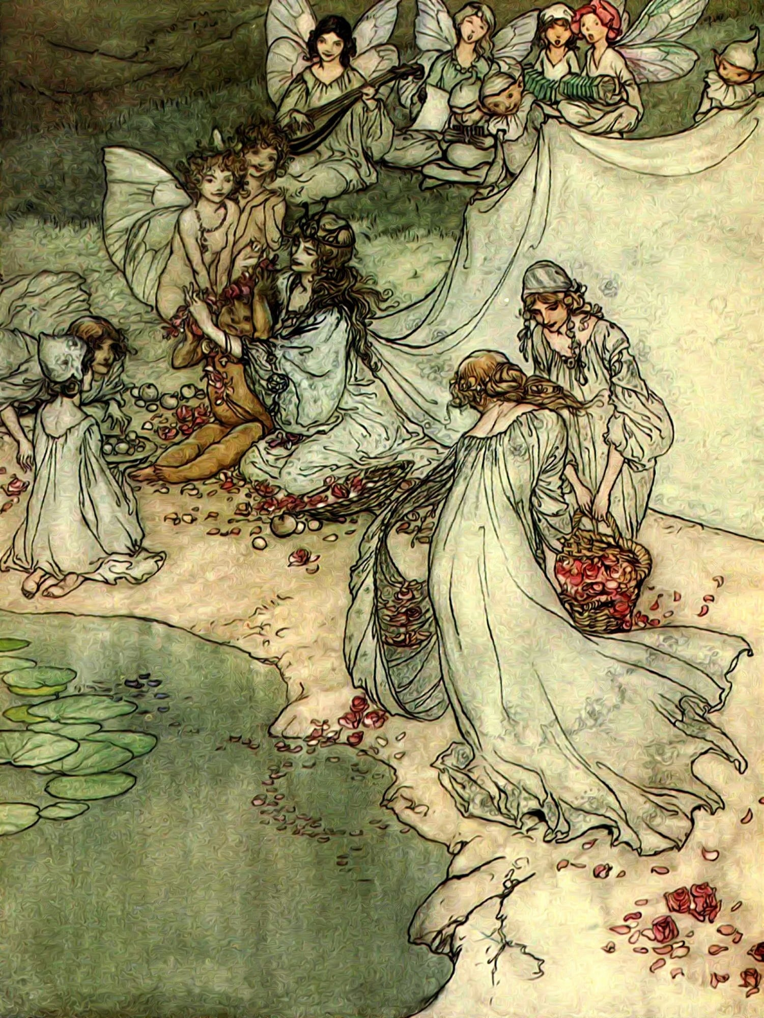 An illustration of fairies dressed in white, carrying baskets of red rose petals